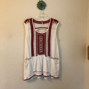 Free People • beads crochet gauzy tunic top